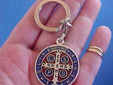 ST BENEDICT Protection Key Chain Key Ring ENAMEL Saint Medal Red Blue Italy