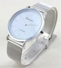 Geneva Silver Man's Slim Stainless Steel Mash Strap Analog Quartz Wrist Watch
