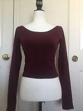 Brandy Melville burgundy off- shoulder boatneck jersey crop top NWT S/M