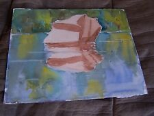 """Original Watercolor By Peg Humphreys,Boulder in Water & Snowy Mountain 13.7""""x11"""""""