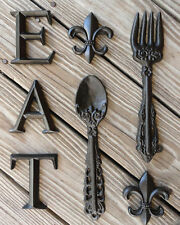 Fleur De Lis Shabby Chic Gift Ideas Wall Decor Cast Iron Fork & Spoon Wall Decor