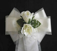 Pew Ends/Chairback Ivory Rose & Pearl Wedding Bows