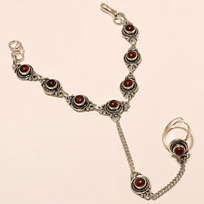 LOVELY 925 STERLING SILVER PLATED GEMSTONE BRACELET WITH RING JEWELLERY