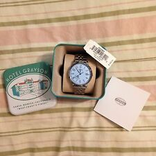 NWT FOSSIL Watch ES3967 Vintage Muse Box Stainless Steel SilverTone Blue Dial