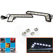 1 Pair 8 LED L Shape DRL Daytime Running Lights 6000k Mercedes Style Waterproof