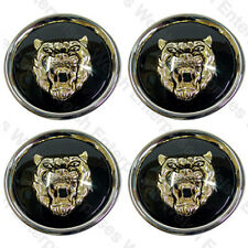 Jaguar Wheel Badge Set - Center Cap - Wheel Motif - 1988-2012 - Black/Gold