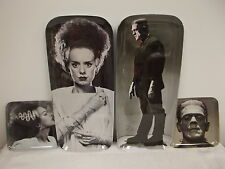 4 Universal Monsters Halloween Frankenstein Bride Snack Trays Dishes Plates