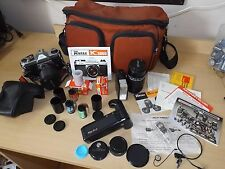 PENTAX K1000 W/ 135MM & 35-70m LENS FLASH MANUAL SLR CAMERA Film Case & More