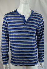 Lucky Brand Men's Henley tee 2XL Long Sleeve Striped Blue 420 India NEW NWT
