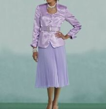 sz 16  Andi Pleated Church Skirt Suit lavender by Ashro new