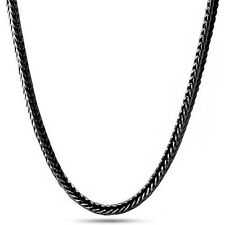 New Mens Solid 14K Black Gold Plated Franco Fox Rope Figaro Box Chain 4mm Heavy