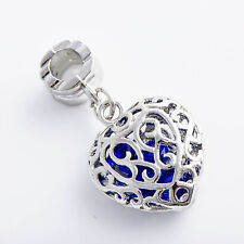 Fashion jewelry Womens Silver plated Blue crystal Drop Filigree flower Pendant