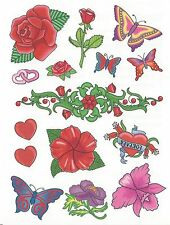 15 - different Temporary Tattoo- BEAUTIFUL sheet AWESOME rose flower butterflies