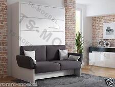 Schrankbett / Wandbett/Klappbett- Sofa WBS 1 Soft - 160 x 200 cm Holzfarbe Weiss