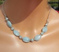 Natural Blue  Aquamarine gemstone and crystal choker/necklace built in extender.