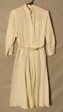 W5585 California Girl Womans Ivory Size 8 Full Length Button Up Dress
