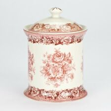 NEW Porcelain vintage Red Rose Canister cookie biscuit coffee tea storage Jar