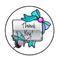 """48 Thank You Butterfly !!!  ENVELOPE SEALS LABELS STICKERS 1.2"""" ROUND"""