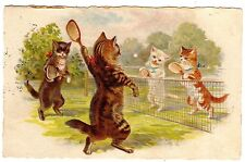 POSTCARD CATS PLAYING TENNIS HELENA MAGUIRE