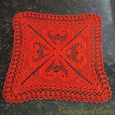 """RED CROCHET TABLE CENTER DOILY LACE with 4-LEAF CLOVER SHAMROCK 15"""" 100% Cotton"""