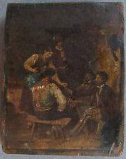 Antikes kleines Jägerbild auf Holz vor oder um 1900