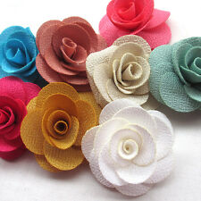 Large 6CM 8PCS Ribbon Flowers Bows Appliques Craft Wedding Deco Mix