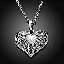 Women Heart Crystal Charm 925 Sterling Silver Pendant Chain Necklace Jewelry