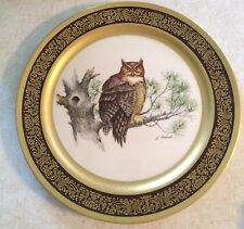 Pickard Gold Trimmed Wildlife Collector Plate GREAT HORNED OWL by Lockhart  NICE