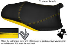 BLACK & YELLOW CUSTOM FITS YAMAHA FAZER FZS 1000 01-05 DUAL LEATHER SEAT COVER