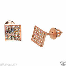 Sterling Silver Stud Earrings Rose Gold Plated Clear CZ Screwbacks 7mm Square