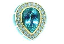 LEO de VROOMEN  18K  AQUAMARINE &  DIAMOND  ENAMEL  RING