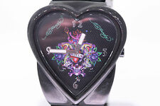 Ed Hardy Women's CR-LK Crush Love Kills Black Heart Watch NO BOX