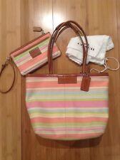 Lot 3 Authentic Women Coach Handbag & Wristlet rainbow colors purse w/ dust bag