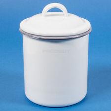 1 LITRO BIANCO SMALTO Kitchen Storage Jar BOMBOLETTA CONTENITORE TEA CADDY CON COPERCHIO
