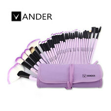 Purple Soft Vander SCF 32pcs Eyebrow Shadow Makeup Brush Set Kit + Pouch Bag