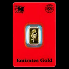 5 x 1 GRAM SOLID GOLD BULLION BAR BY EMIRATES