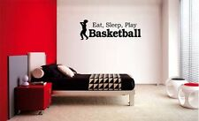 EAT SLEEP PLAY BASKETBALL LETTERING DECAL WALL VINYL DECOR STICKER ROOM SPORTS