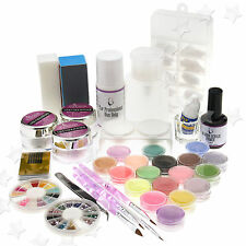 FULL SET BRILLIANTS ACRYLIC NAIL ART LIQUID BRUSH POWDER DUST DECORATION KIT