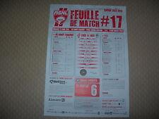Feuille de match N°17 ASNL  Nancy - Evian Thonon Gaillard (2012-2013)