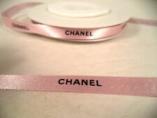 "Chanel pink ribbon by the yard black logo gift wrapping 3/8"" wide grosgrain"