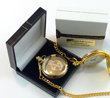 REAL GOLD Plated AMBULANCE POCKET WATCH Paramedic St Johns Driver Lux Gift Case
