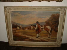 Old oil painting,{ Man with his horse, is signed, nice frame} is antique!