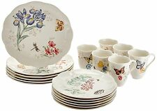 Lenox Butterfly Meadow 18 Piece Dinnerware Set Service For 6, White 6342794 New