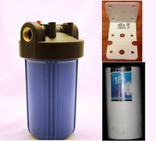 "Big Blue 10"" Whole House Water Filter System (1""Port) +Mounting Bracket + Filter"