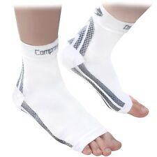 Foot Sleeves (1 Pair - White L) Best Plantar Fasciitis Compression for Men & Wom
