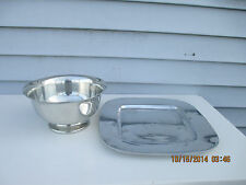 """9"""" Kirk Stieff P42 Pewter Bowl & Pottery Barn 13"""" Square Metal Plate Dish"""