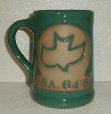 """Pottery Mug Stein Potter's Field Ministries 5"""" Green Dove ISA. 64:8"""