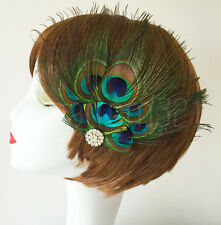 Vintage Peacock Feather Fascinator Hair Clip Bridal Bridesmaid 20's Stage Dance