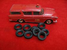 Small Treaded Tires for Dinky Toys, black, 15mm, Lot of 8