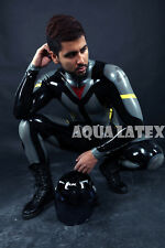 Custom Moto Suit Zip Front Rubber Latex Catsuit, Man's Tight Gummi Bodysuit